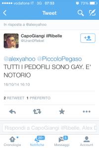 Insulto e stereotipo tipo: pedofilia = omosessualità.
